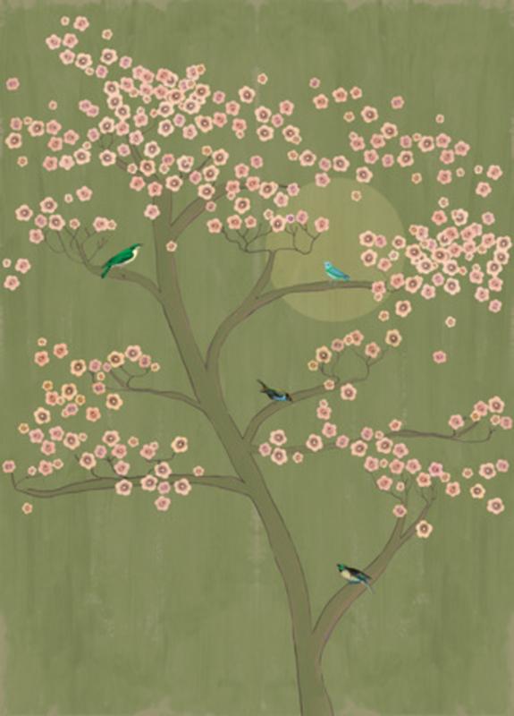 Onszelf Amazing behang Underneath Cherry Tree in Moonlight 542110