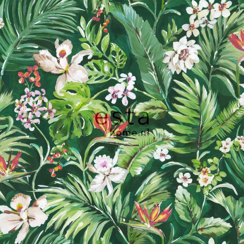 Esta Home Jungle Fever Wallpaper XXL Tropische Bladeren en Bloemen 158893