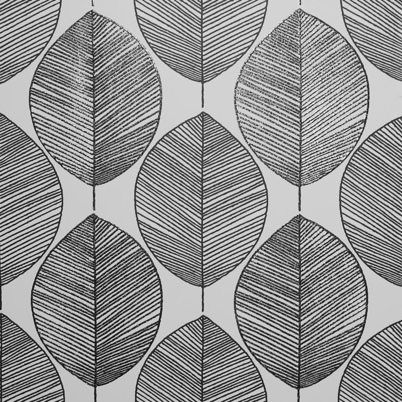 Arthouse Scandi Leaf Black & White behang 698402