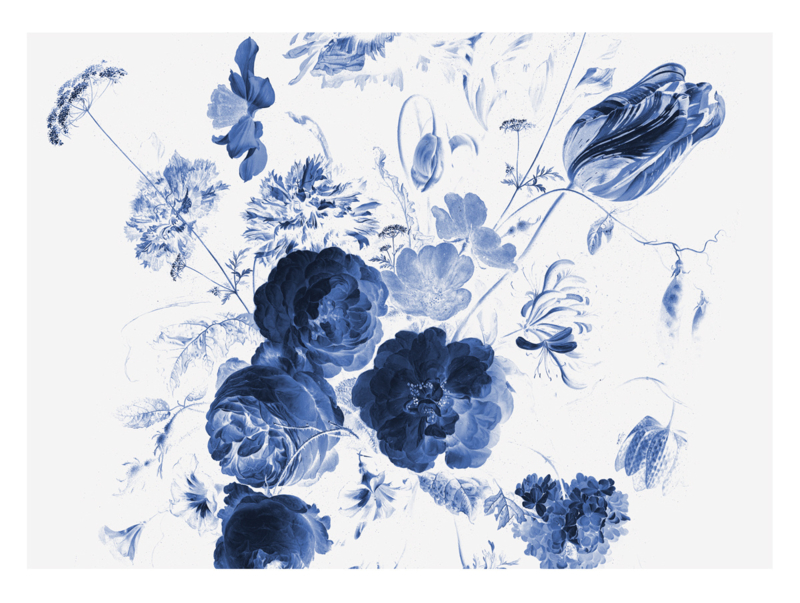 KEK Amsterdam Wonderwalls behang Royla Blue Flowers I WP-223