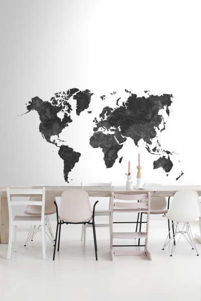 Esta Home Black & White - with a splash of gold behang PhotowallXL Wall World Map Black and White 158941