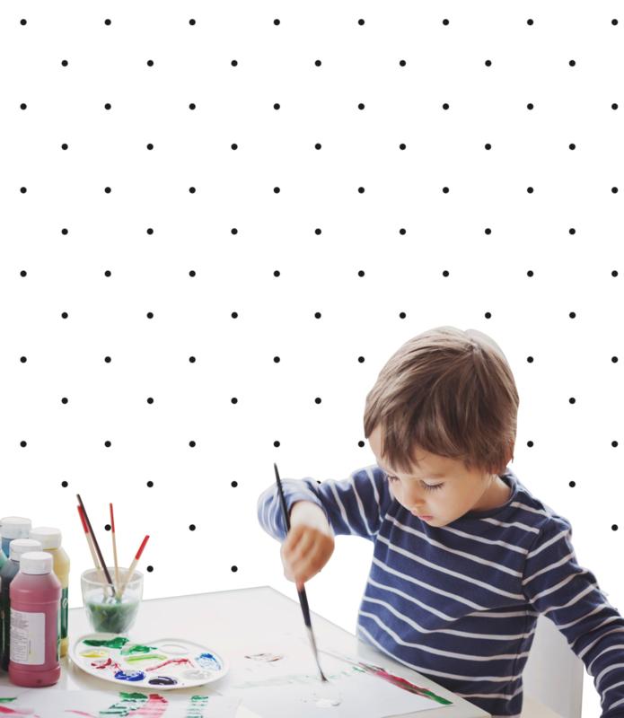 Home Collection Zwart Wit Stippen behang JO201