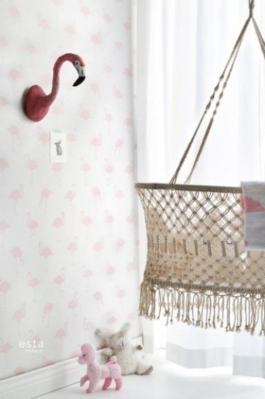 Esta Home Little Bandits Flamingo's behang 138918