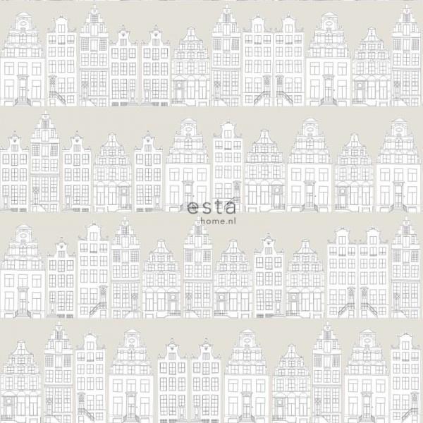 Esta Home Little Bandits Amsterdams Grachtenhuisjes behang 138909