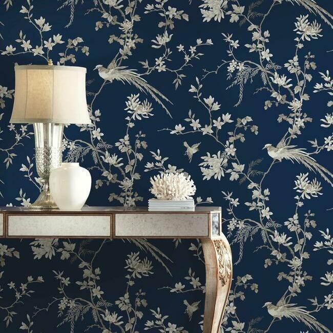 York Wallcoverings Ronald Redding 24 Karat behang Bird and Blossom Chinoiserie KT2171