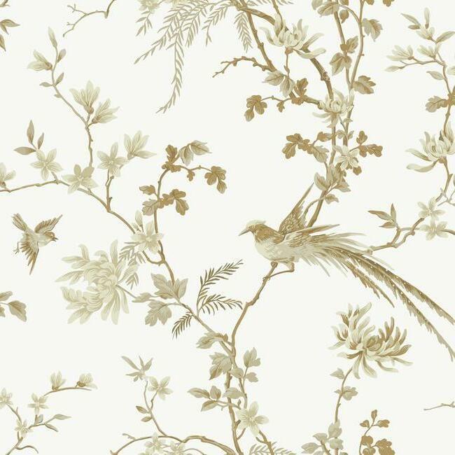 York Wallcoverings Ronald Redding 24 Karat behang Bird and Blossom Chinoiserie KT2174