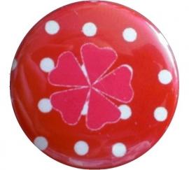 Button geluks klavertje polkadot rood en roze klavertje.