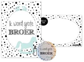 A6 kaart met button 56mm met tekst ''Ik word grote broer''.