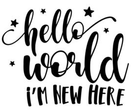 Muur/glas/hout Sticker zwart ''Hello world i'm new here'' 20 bij 30 cm.