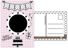7.Kaart met afbeelding voor de verjaarsdags button en tekst ''Happy Birthday''.