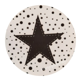 Sticker rond 4 cm met afbeelding ster.