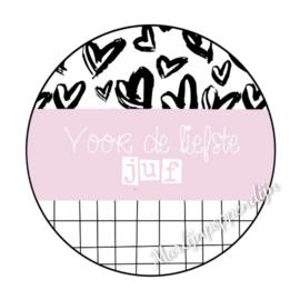 Sticker met tekst ''Voor de liefste juf'' 6 cm doorsnee.