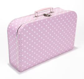 Koffer licht roze gestipt 35 cm