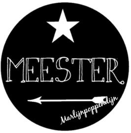Sticker met tekst 'meester''  6 cm doorsnee.