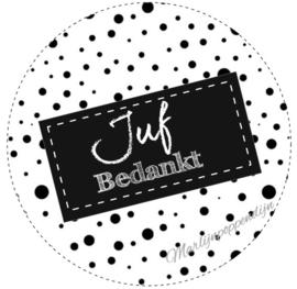 sticker met tekst ''Juf bedankt'' 6 cm zwart gestipt.