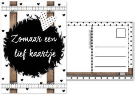 19.Kaart met tekst ''Zomaar een lief kaartje''.