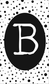 klein kaartje met letter B.