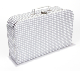 Koffer zilver geruit 35 cm