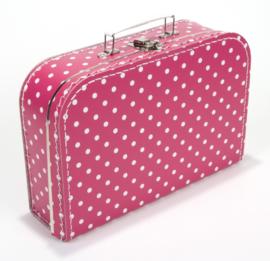 Koffertje fuchia roze stip 30 cm