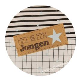 Sticker rond 4 cm met tekst ''Het is een jongen''.''.