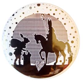 Magneet button 75mm met afbeelding Sinterklaas & zwarte Piet.