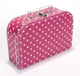 Koffertje fuchia roze stip 25 cm