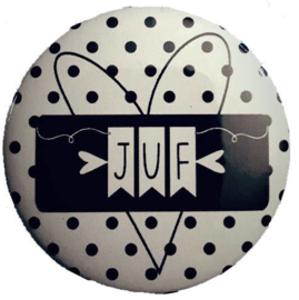 Spiegeltje met tekst ''Juf '' 56mm.