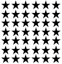 Muurstickers, om je witte muur met sterren te beplakken doorsnee 4 cm 42 stuks kleur zwart.