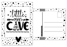 Kaart A6 met tekst ''Little man cave .''. 10.5 bij 14.8