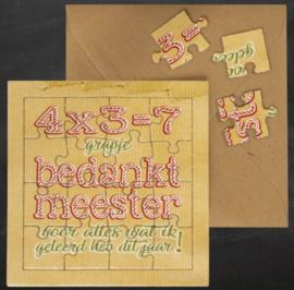 Puzzel kaart bedankt meester 12 bij 12 cm.