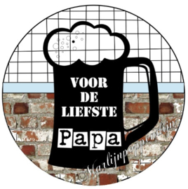 Button opener met tekst ''Voor de liefste Papa'' 56 mm.