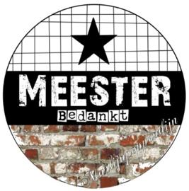 Button opener met magneet en tekst ''Meester  bedankt'' 56mm.