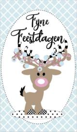 Kaartje met tekst ''Fijne feestdagen'' 5 bij 8.5 cm.