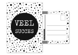 Kaart A6 met tekst ''Veel succes .''. 10.5 bij 14.8