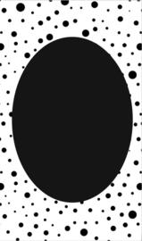 klein kaartje met zwart rondje.