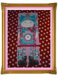 25. schilderij meisje klok drie luik 3 keer A4 onder elkaar.
