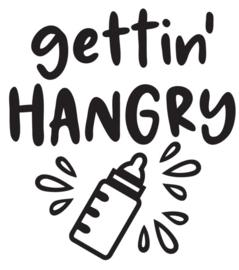Muur/glas/hout  sticker met tekst ''Gettin Hangry'' zwart  30 bij 30 cm