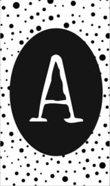 klein kaartje met letter A.