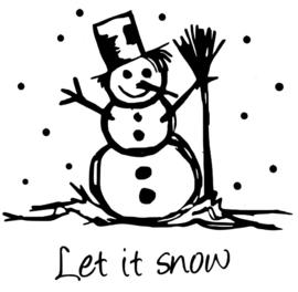 Muur/glas/hout  sticker sneeuwpop zwart  30 bij 30 cm