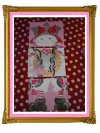 28. schilderij meisje spiegel beschilderd drie luik 3 keer A 4 onder elkaar.