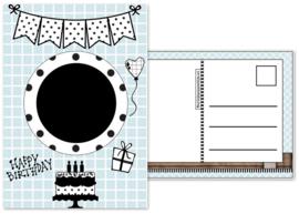 8.Kaart met afbeelding voor de verjaarsdags button en tekst ''Happy Birthday''.