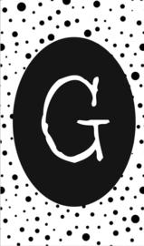 klein kaartje met letter G.