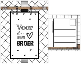 Kaart A6 met tekst ''Voor de  leukste broer''.