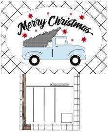 Kaart A6 met tekst ''Merry Christmas .''. 10.5 bij 14.8