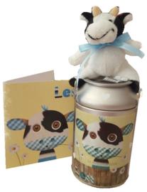 Spaarpot melkbusje met afbeelding van het geboorte kaartje.