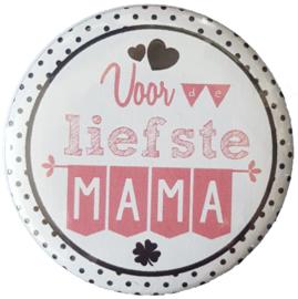 Spiegeltje met tekst ''Voor de liefste mama'' 56mm.