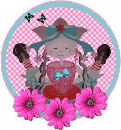 Sticker voor meisjes. kop en schotel 14 bij 15 cm.