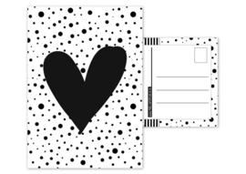 Kaart A6 met afbeelding''hartje .''zwart . 10.5 bij 14.8