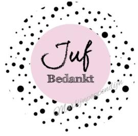 Sticker met tekst ''Juf bedankt''. 6 cm doorsnee.roze.