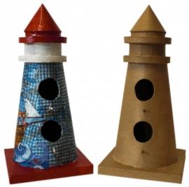 Workshop/kinderpartijtje vuurtoren, vogelhuis 32 cm hoog. decopatch.